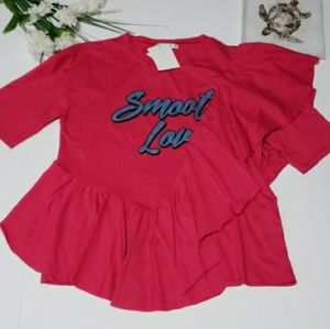 NWT Pull & Bear Frill Front 'Smooth Love' Tee